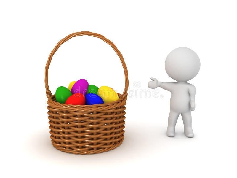 3D显示篮子的字符用五颜六色的复活节彩蛋填装了 皇族释放例证