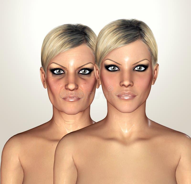 3d显示老化概念的妇女形象的例证 皇族释放例证