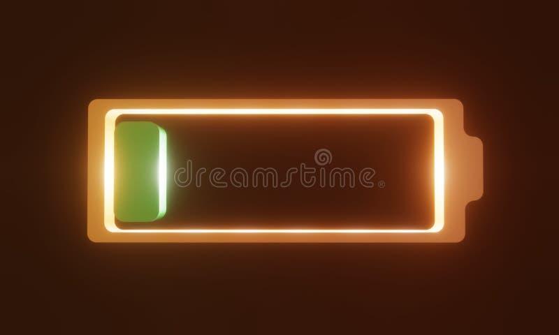 3D智能手机的电池在背景中 皇族释放例证