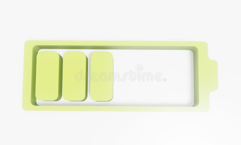 3D智能手机的电池在背景中 向量例证