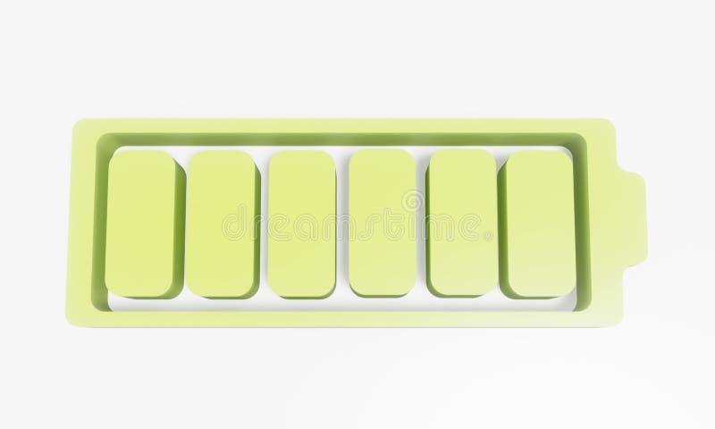 3D智能手机的电池在背景中 库存例证