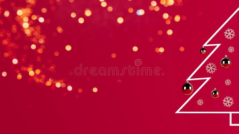 3d最低纲领派圣诞树的翻译图片在红色背景的 库存例证