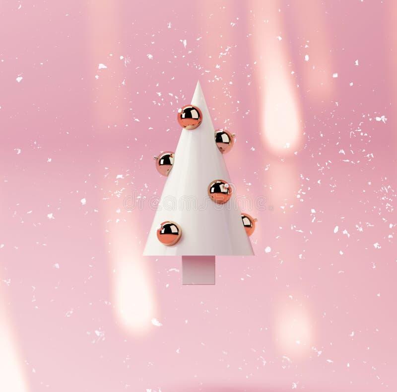 3d最低纲领派锥体圣诞树的翻译图片在桃红色背景的 库存例证