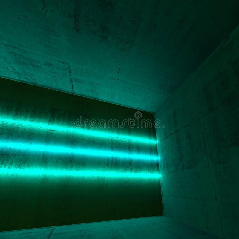 3d有三条绿色霓虹灯线的室 库存图片