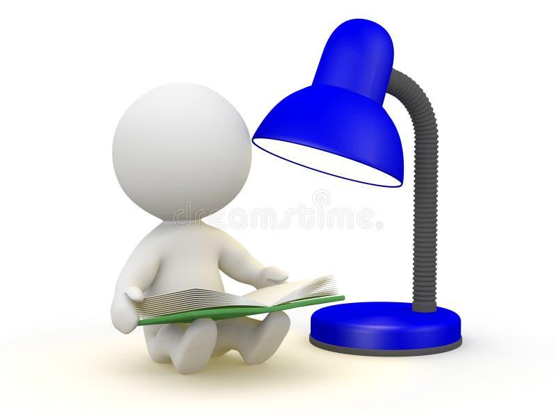 3D有书和灯的人 向量例证