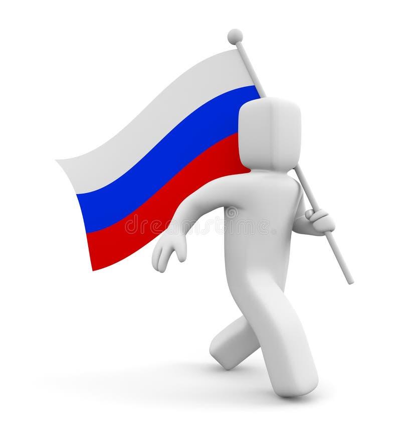 3d有俄国旗子的人 库存例证
