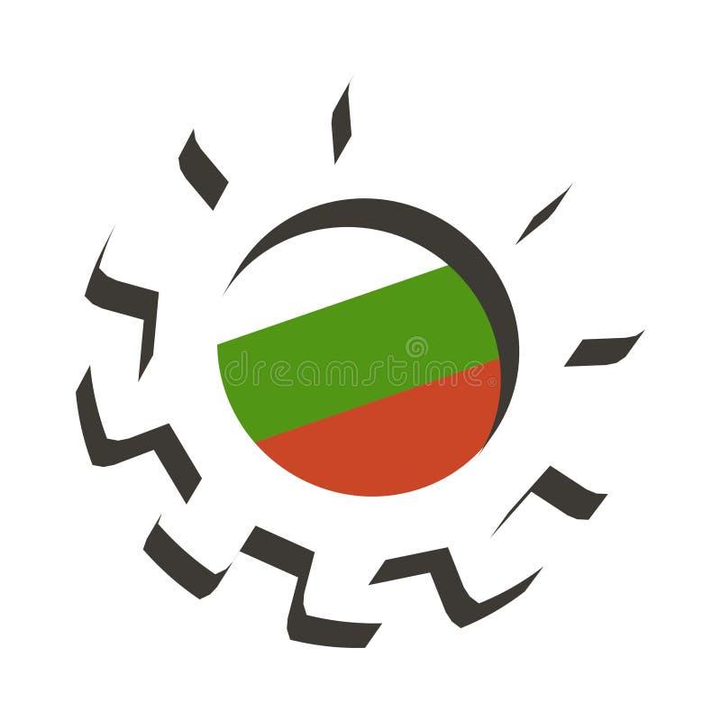 3D有保加利亚的旗子的嵌齿轮轮子 皇族释放例证