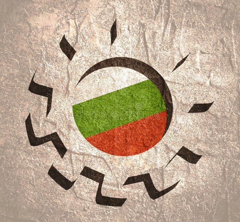 3D有保加利亚的旗子的嵌齿轮轮子 库存例证