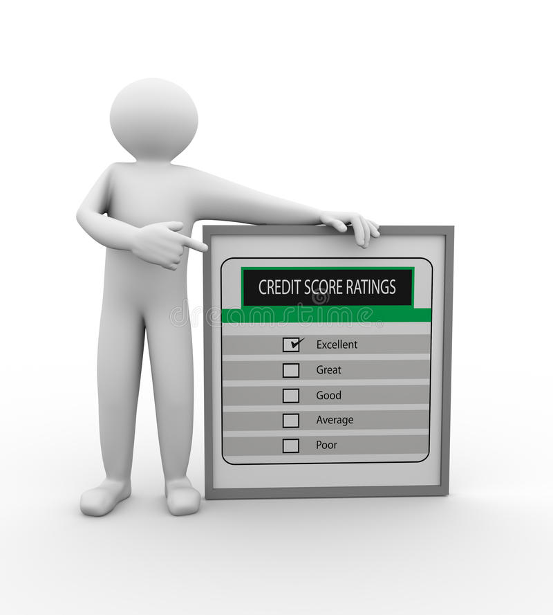 3d有信用评分规定值的人 库存例证