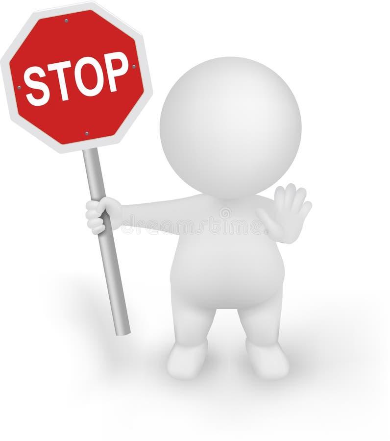 3d有停车牌的人以图例解释者和止步不前打手势 皇族释放例证