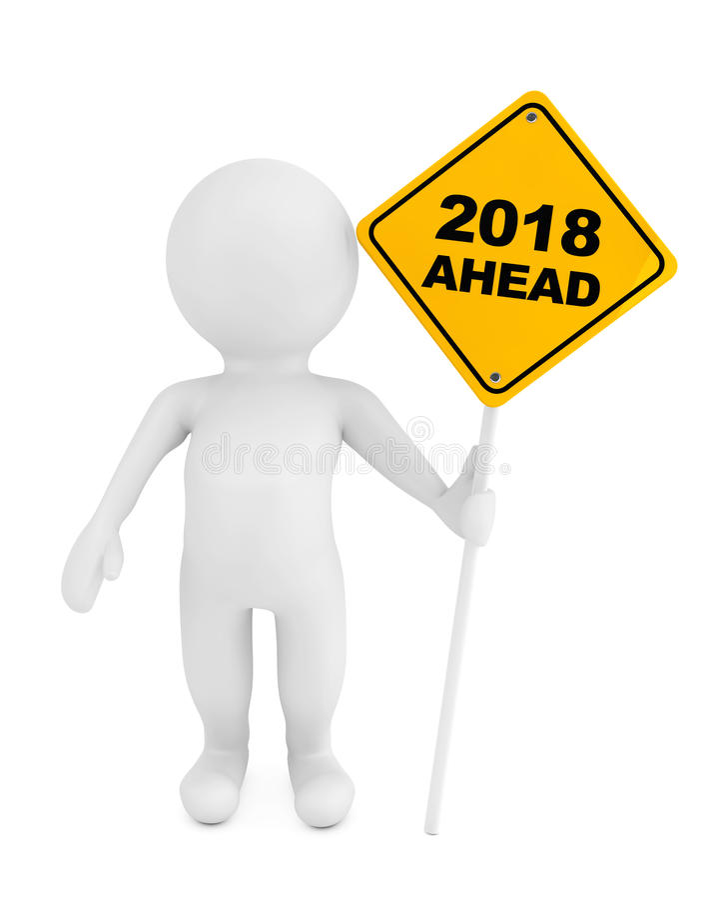 3d有前面2018年交通标志的人 3d翻译 向量例证