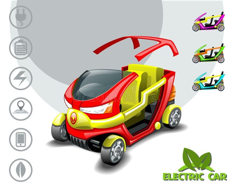 3D有可移动的屋顶和象的电车 向量例证