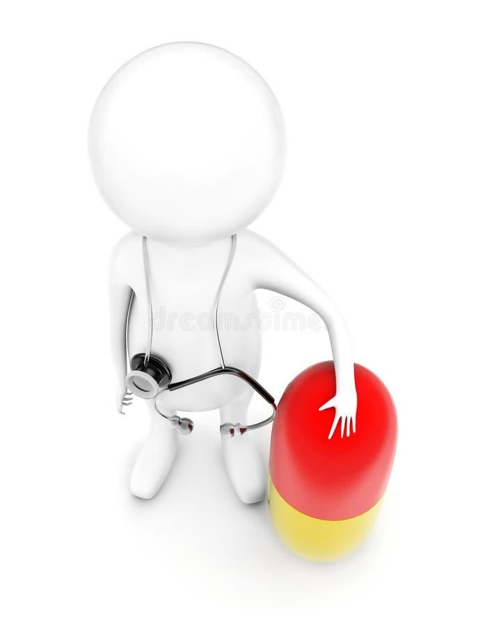 3d有听诊器的人在他的肩膀和提出大m 向量例证