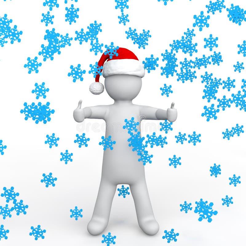 3d有圣诞老人帽子和雪花的人 皇族释放例证