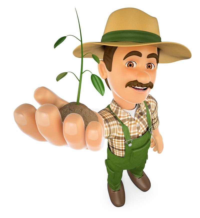 3D有在手中生长的植物的花匠 皇族释放例证