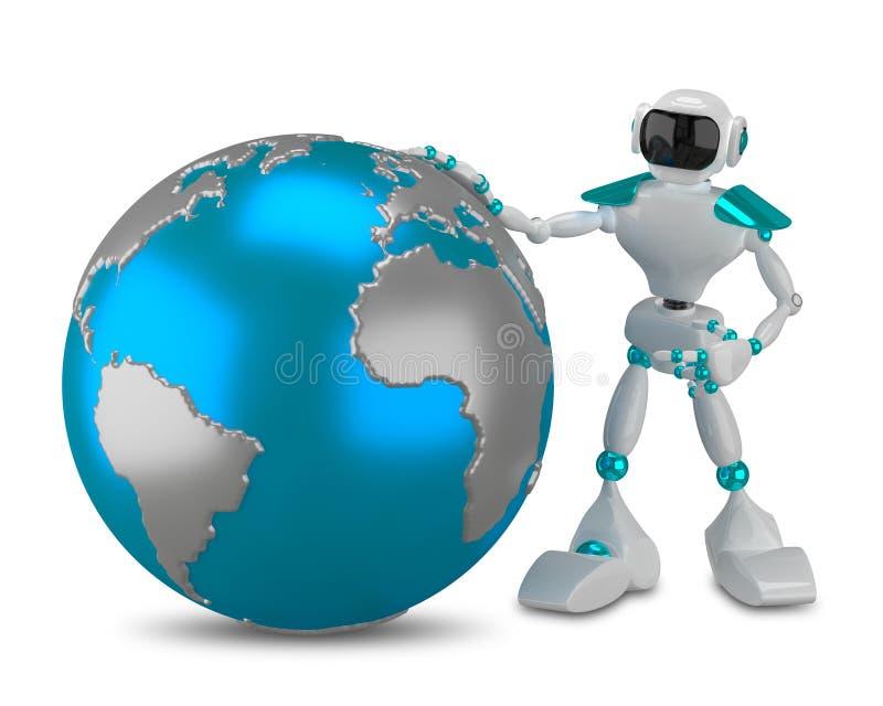3D有地球的例证白色机器人 向量例证