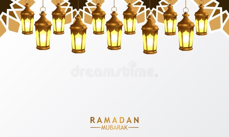 3D有坛场装饰的金黄现实垂悬的fanoos灯笼灯的斋月 库存例证