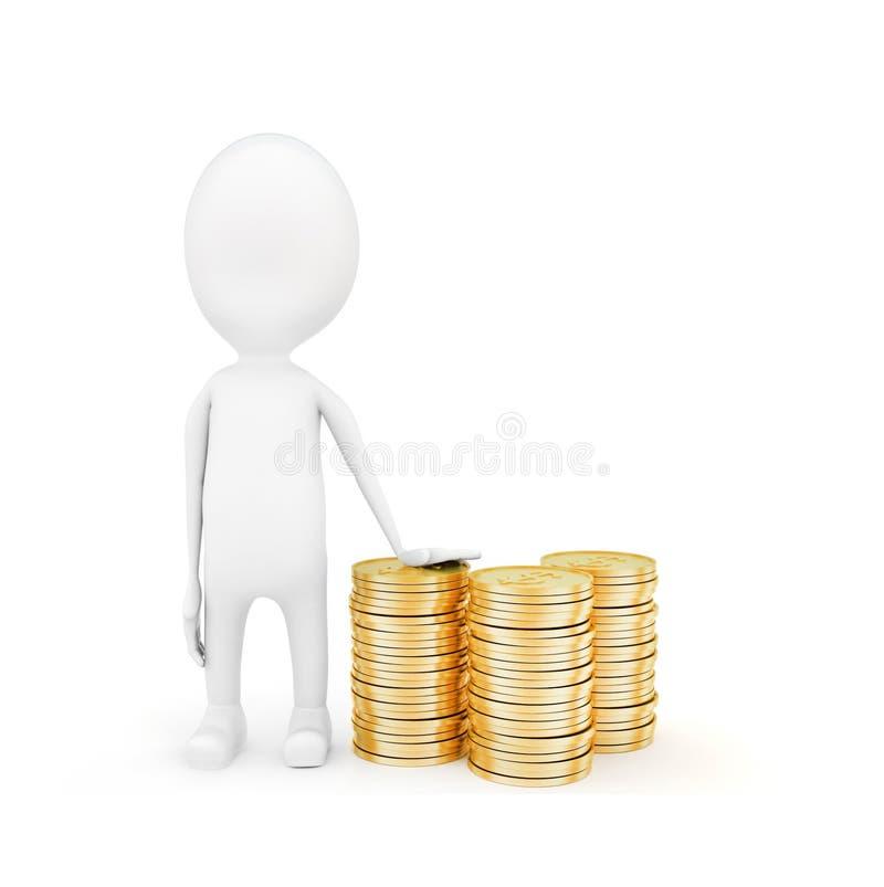 3d有堆的人硬币概念 向量例证