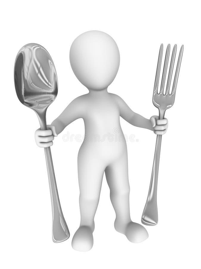 3d有大叉子和匙子的人 3d例证 皇族释放例证