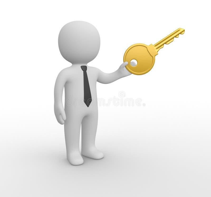 3d有大钥匙的人 向量例证