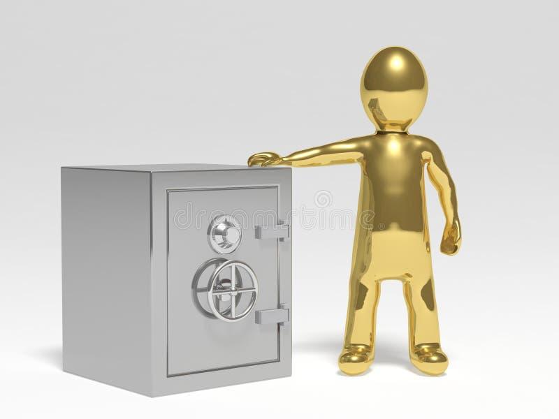 3D有安全的人 库存例证