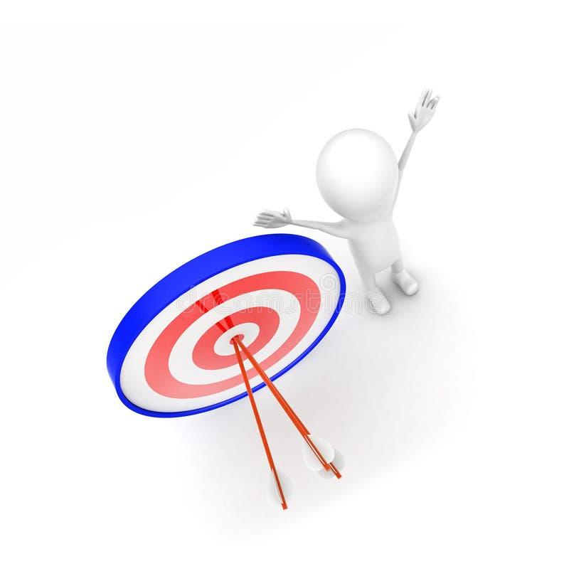 3d有完全瞄准的箭头的人在目标板概念 向量例证