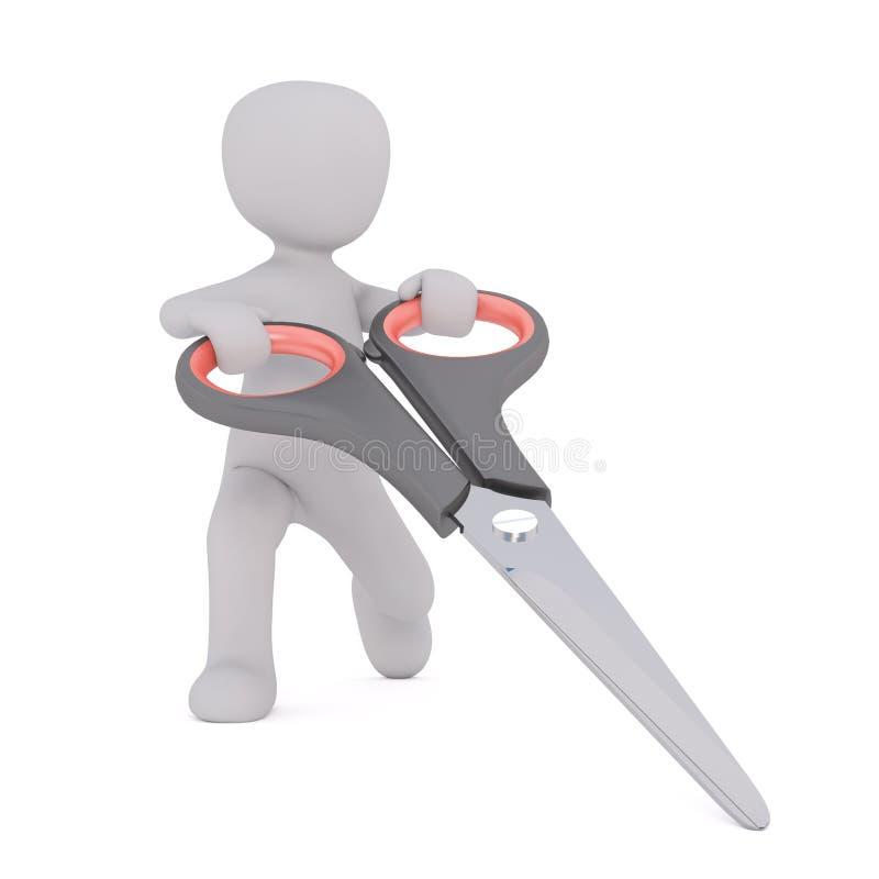 3D有巨大的剪刀的人 库存例证