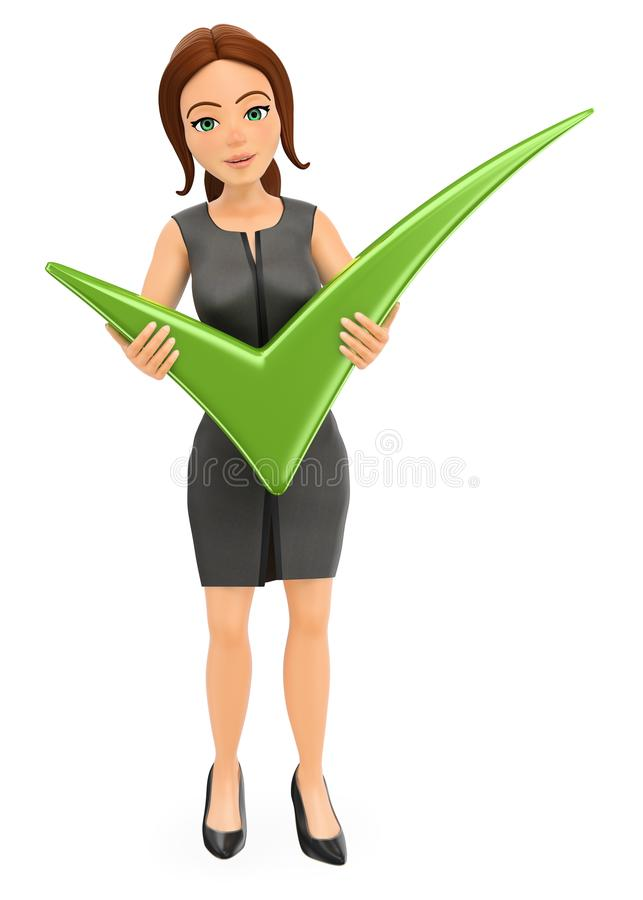 3D有巨大的绿色壁虱的女实业家 库存例证