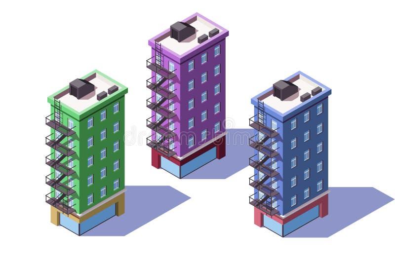 3d有微型市场的等量中间上升房子在一楼上 皇族释放例证