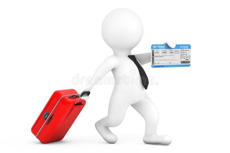3d有手提箱和飞机票的人 3d翻译 向量例证