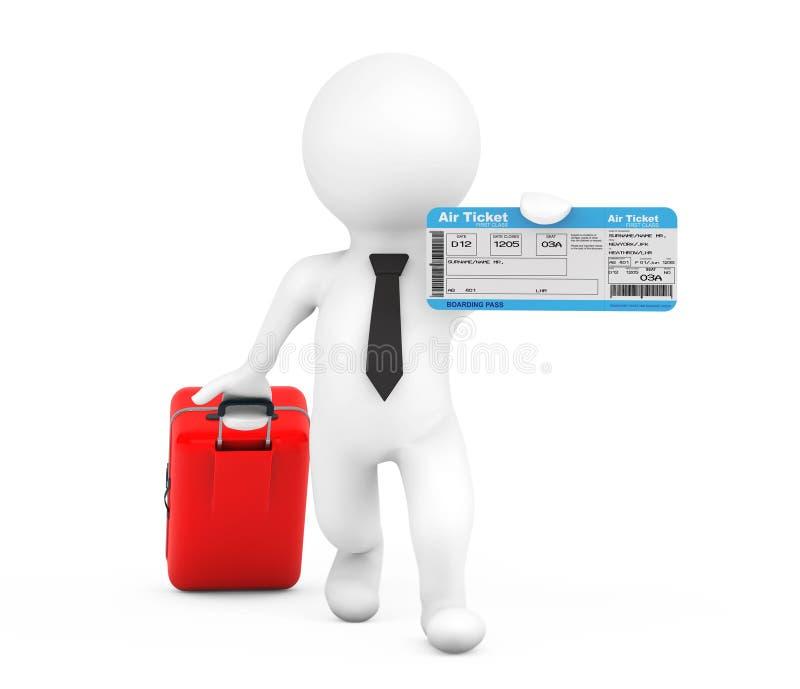 3d有手提箱和飞机票的人 3d翻译 库存例证