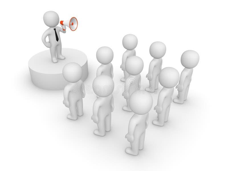 3d有扩音器的人谈话与人群 向量例证