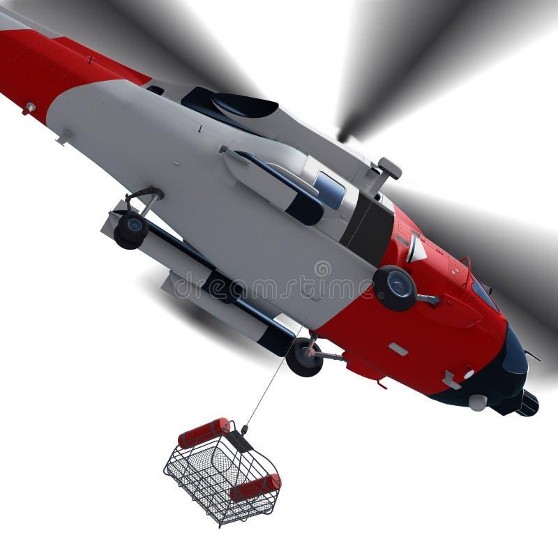 3d有抢救篮子dur的海岸警卫直升机的例证 库存例证