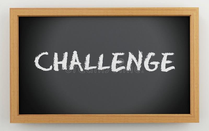 3d有挑战文本的黑板 库存例证