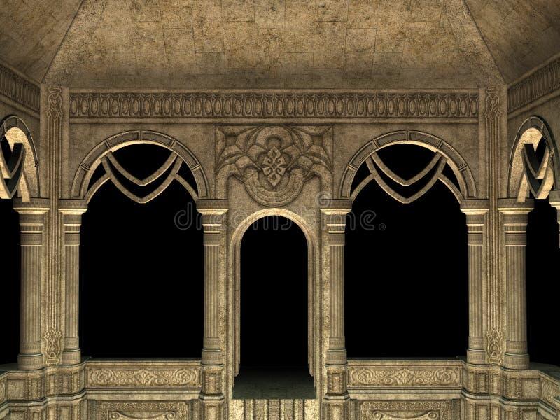 3d有曲拱的墙壁 向量例证