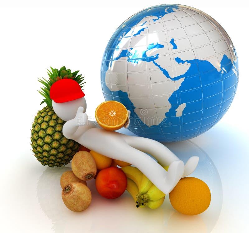 3d有柑橘和地球的人 库存例证