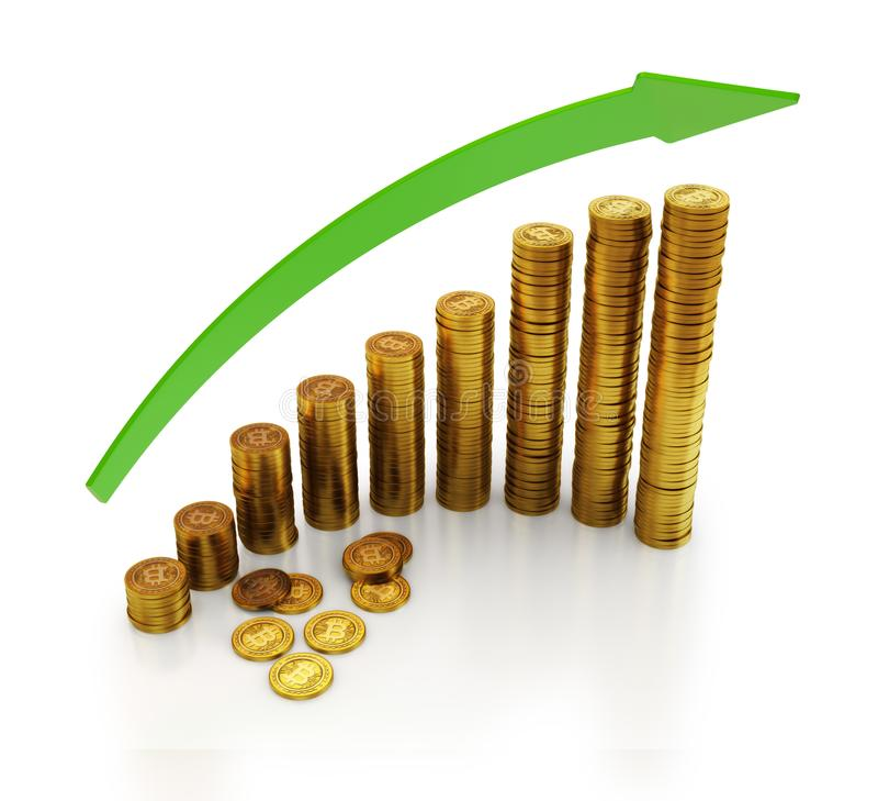 3d有点货币的例证铸造与箭头 向量例证