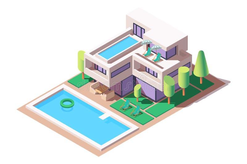 3d有现代设计和水池的等量大房子 皇族释放例证
