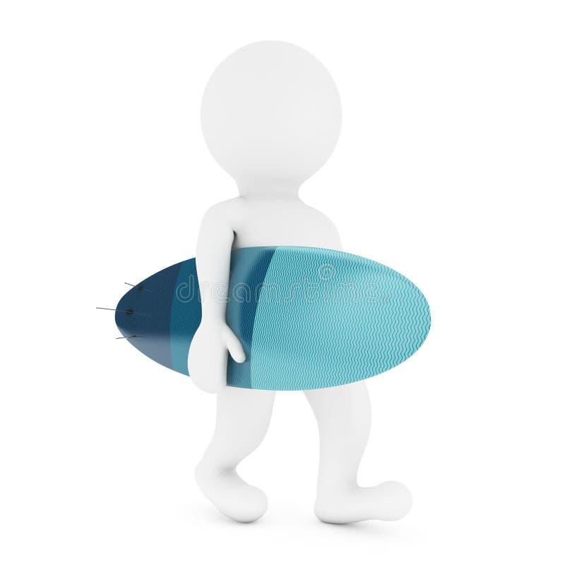 3d有现代冲浪板的小人物 3d翻译 库存例证