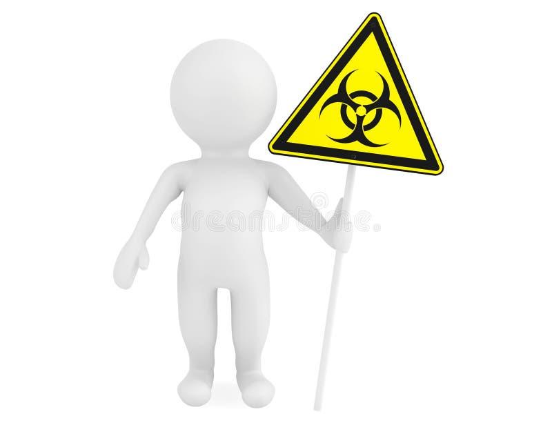 3d有生物危害品标志的人 向量例证