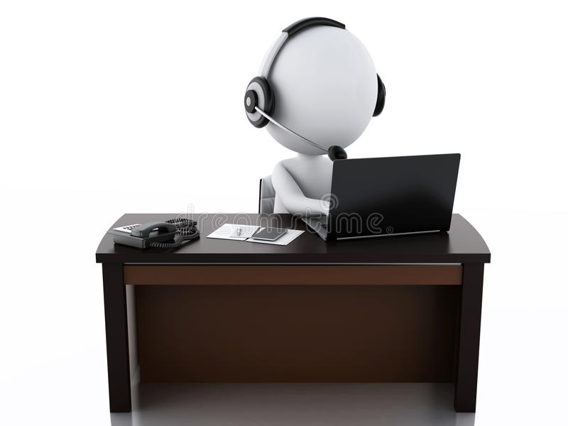 3d有的白人有话筒和膝上型计算机的耳机 向量例证