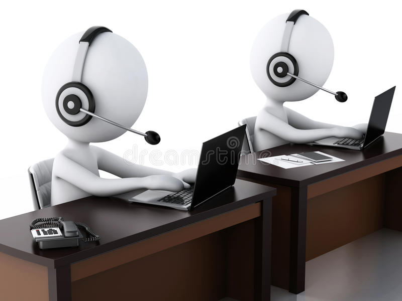 3d有的白人有话筒和膝上型计算机的耳机 库存例证