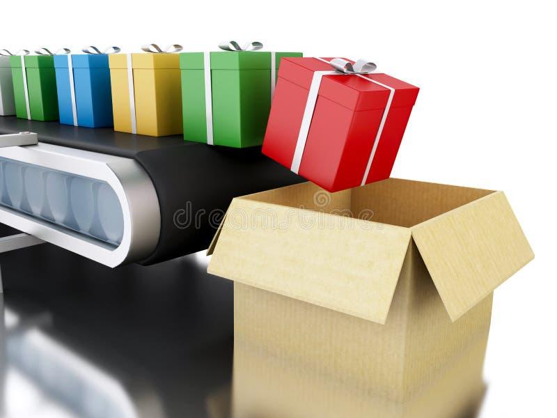 3d有礼物的传送带 库存例证