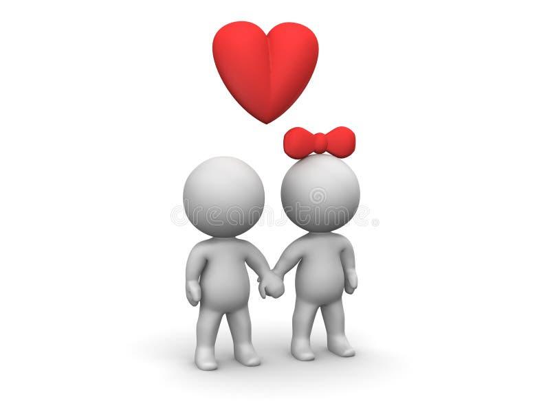 3D男人和妇女恋人 库存例证