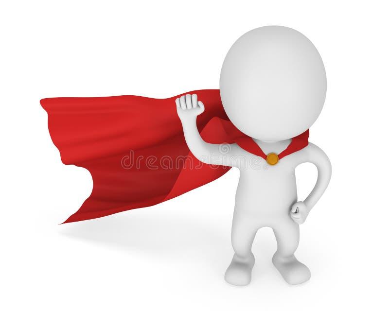 3d有红色斗篷的人勇敢的超级英雄 库存例证