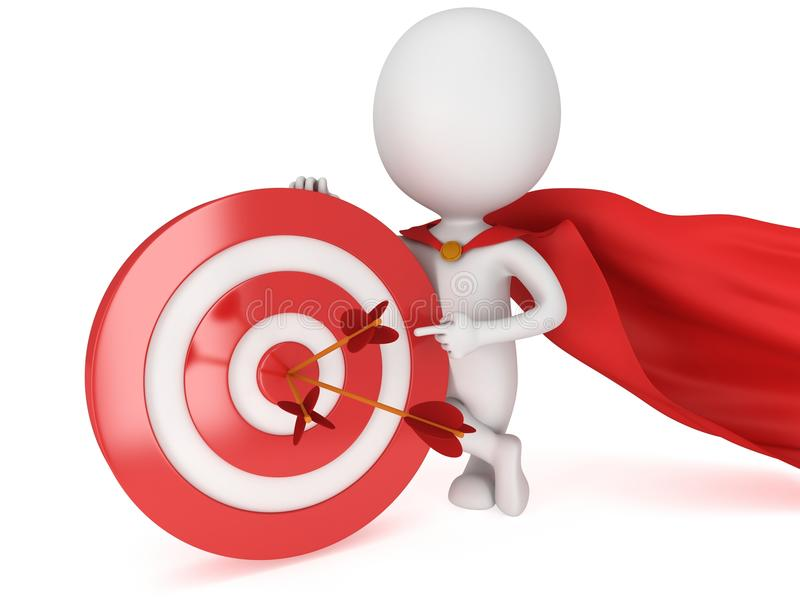 3d有红色目标的人勇敢的超级英雄 向量例证