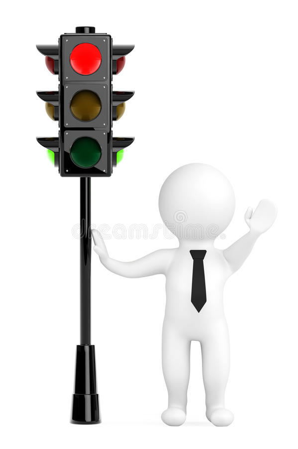 3d有红色红绿灯的人 向量例证