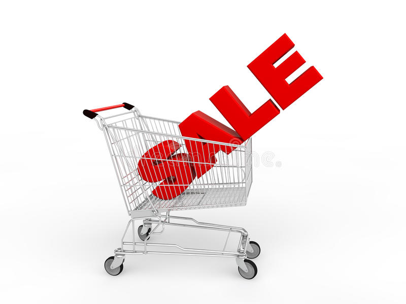 3d有红色销售文本的购物车 库存例证