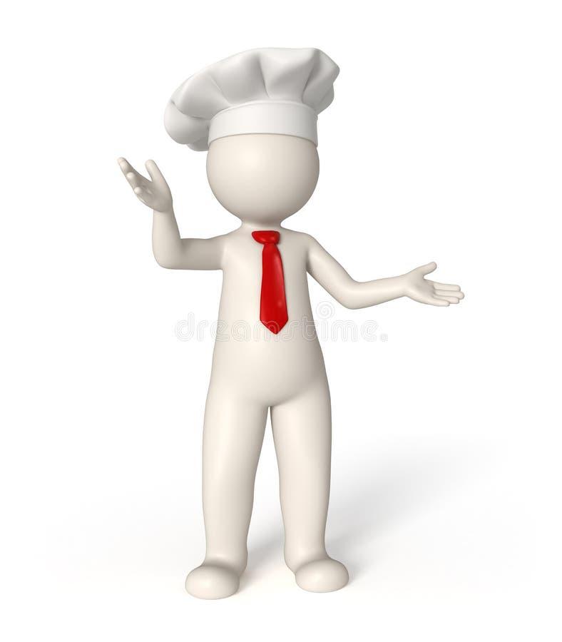 3d有红色领带的厨师 库存图片