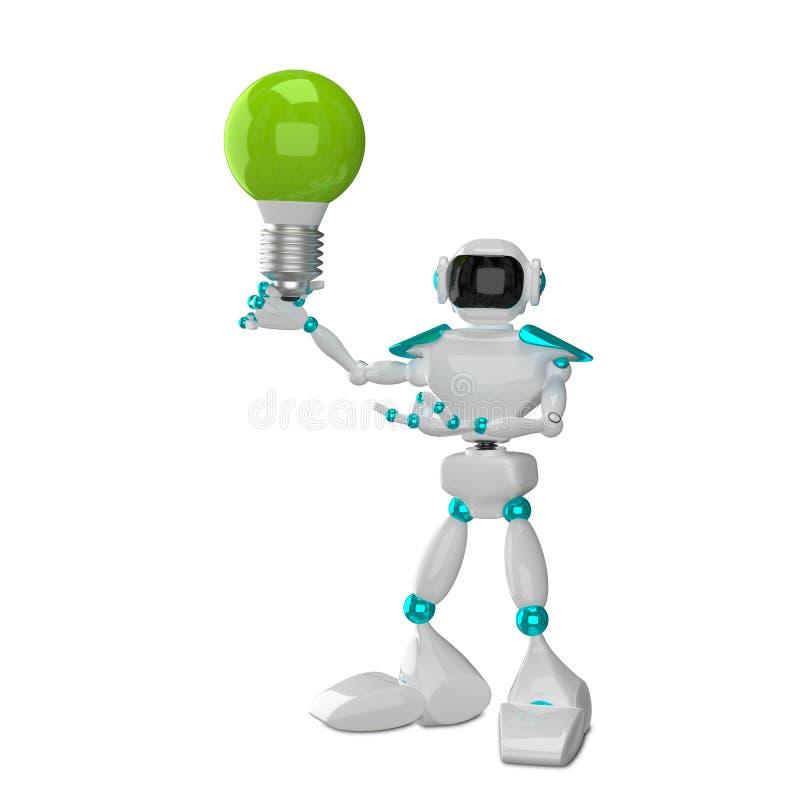 3D有绿色的例证白色机器人 皇族释放例证
